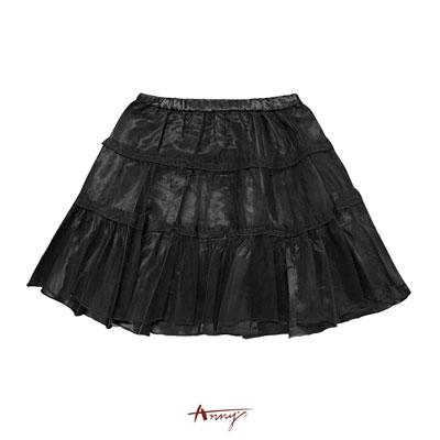 Annys高質亮緞網紗蕾絲蛋糕短裙*9212黑