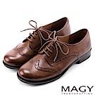 MAGY 英倫學院風  經典花邊綁帶真皮牛津鞋-棕色