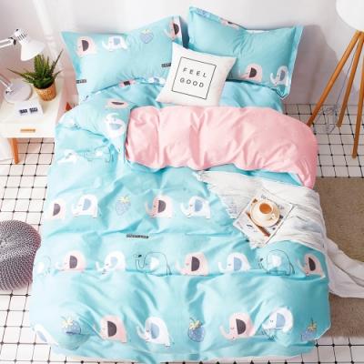 Ania Casa萌萌象 雙人三件式 100%精梳棉 台灣製 床包枕套純棉三件組