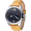 ALBA 飛鷹戰士多功能數位雙顯男錶-卡其色錶帶/黑(AZ4013X1)/40mm
