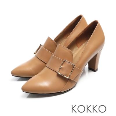 KOKKO - 法式優雅尖頭牛皮樂福粗跟鞋 - 奶茶咖