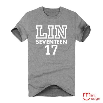 (男款)LIN-SEVENTEEN潮流設計短T 三色-Minidesign