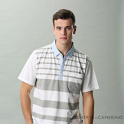 ROBERTA諾貝達 台灣製 橫條紋 修身休閒短袖POLO棉衫 白色