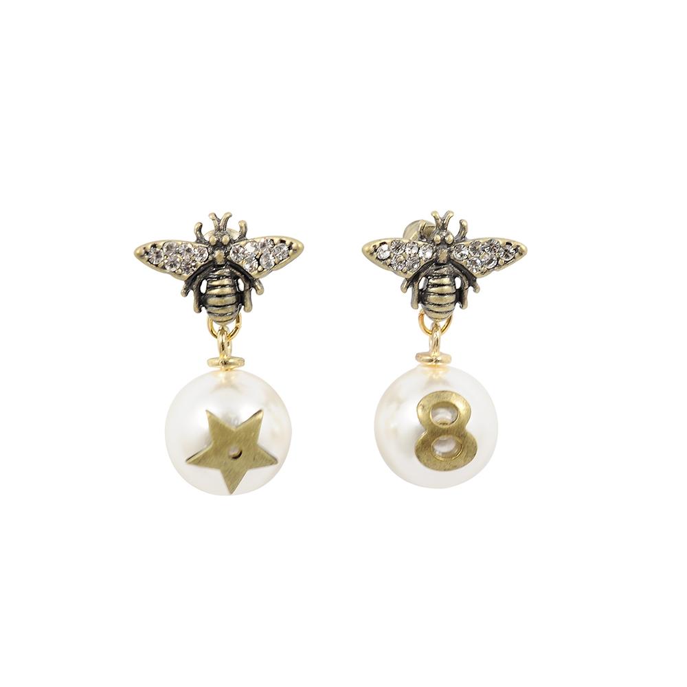 Prisme美國時尚飾品 塔西亞水鑽珍珠 仿舊銅色耳環 耳針式