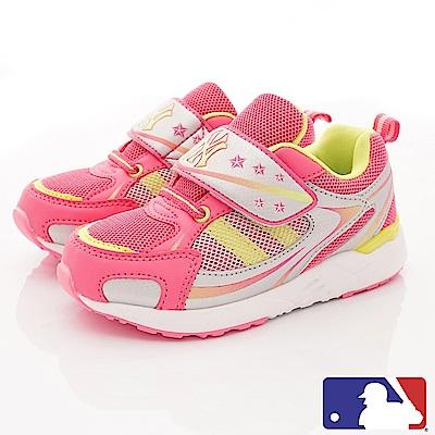 洋基MLB童鞋 雙層網布彈力運動款 NI53067灰桃(中小童段)