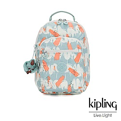 Kipling 湖水綠印象派塗鴉機能手提後背包-CLAS SEOUL S
