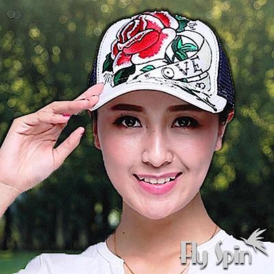 FLYSPIN 潮流行玫瑰刺繡平頂街頭網帽