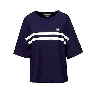 FILA 女款圓領短袖T恤-藍紫 5TET-1708-DB