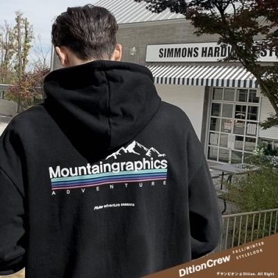 DITION 雪山山脈彩虹條連帽T 保暖長袖上衣 oversize 山系