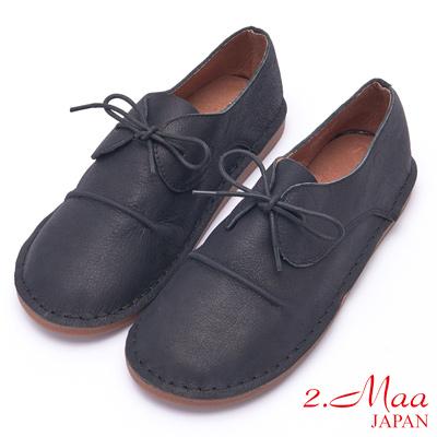 2.Maa 牛津復古金線設計牛皮綁帶包鞋 - 黑