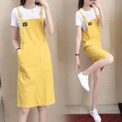 俏麗黃時尚休閒吊帶裙套裝XL-5XL-KVOLL