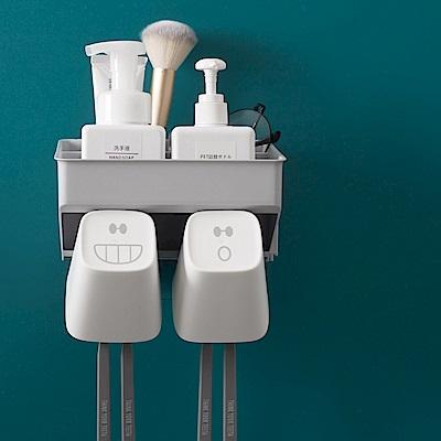 日創優品 壁掛式無痕貼牙刷置物架(2杯)
