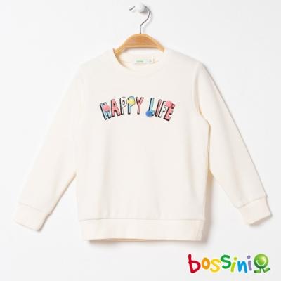 bossini女童-圖案圓領厚棉T恤01乳白