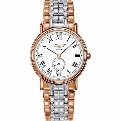 LONGINES浪琴 Presence 經典小秒針機械錶-白x雙色版/38.5mm