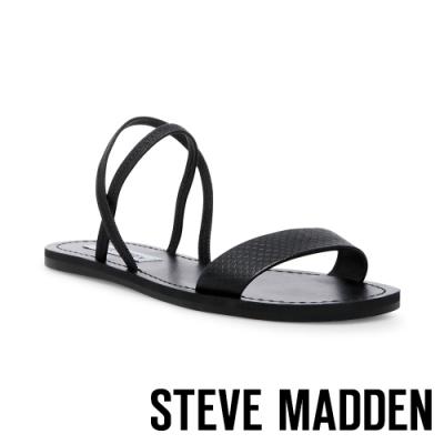 STEVE MADDEN-INSTANT 交叉條帶一字平底涼鞋-黑色