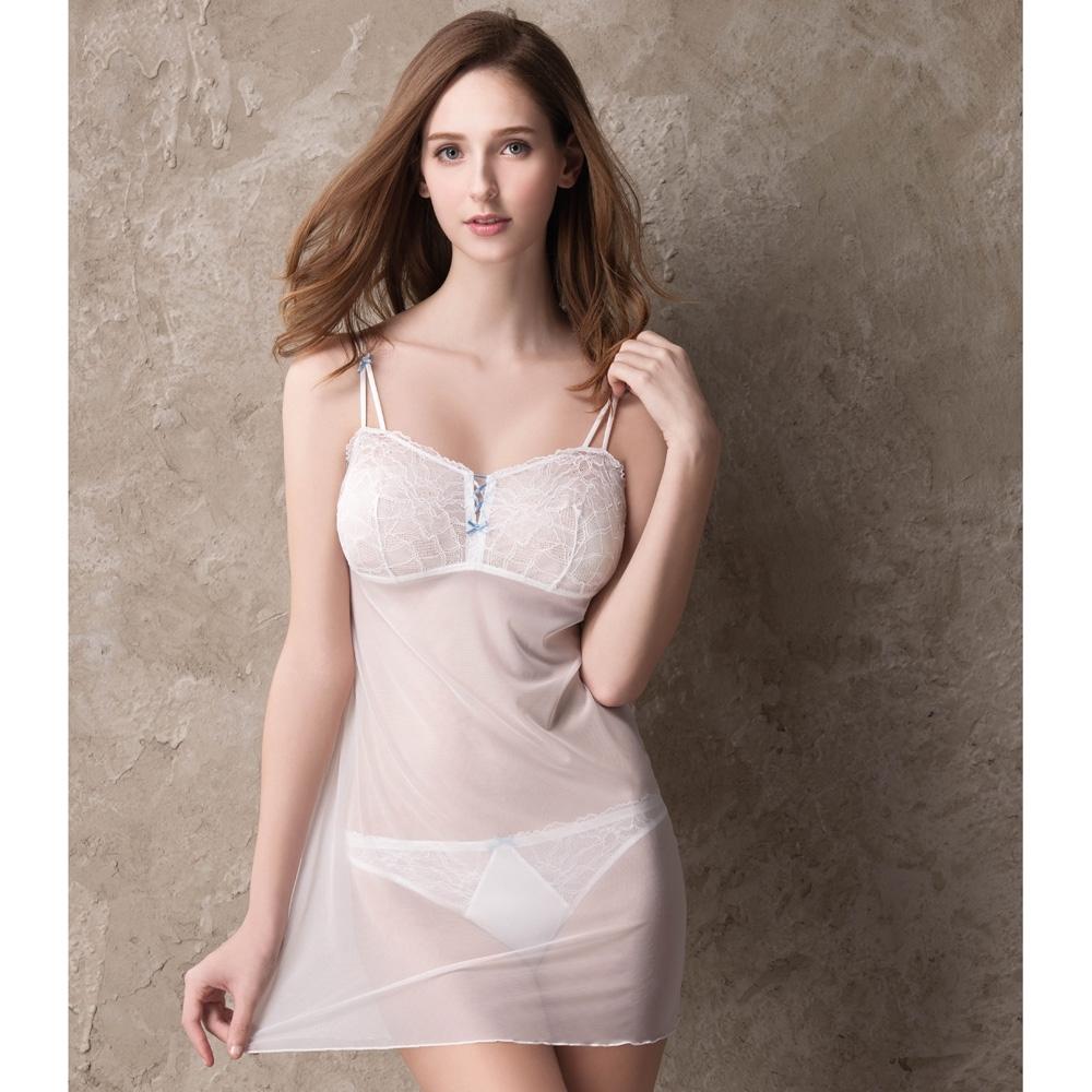 莎薇 b.tempt'd M-L細帶連身襯裙(白) 性感蕾絲-舒適打底