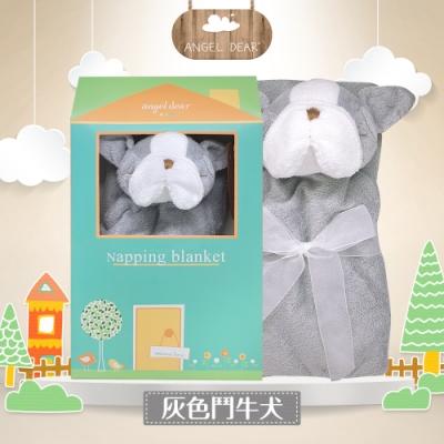 美國 Angel Dear 大頭動物嬰兒毛毯禮盒版 (灰色鬥牛犬)
