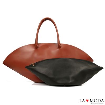 La Moda名牌Look帽子造型大容量肩背子母托特包(紅)
