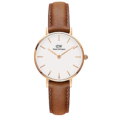 DW手錶 官方旗艦店 28mm玫瑰金框 Classic Petite 淺棕真皮皮革手錶