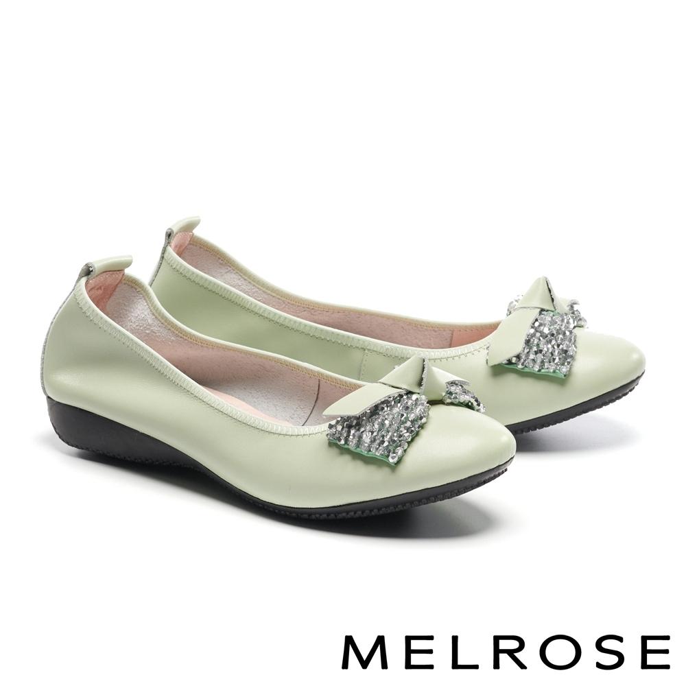 低跟鞋 MELROSE 舒適典雅角珠蝴蝶扭結牛皮楔型低跟鞋-綠