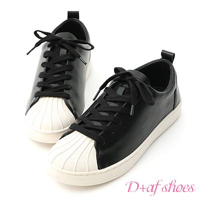 D+AF 休閒舒適.貝殼頭綁帶休閒鞋*黑
