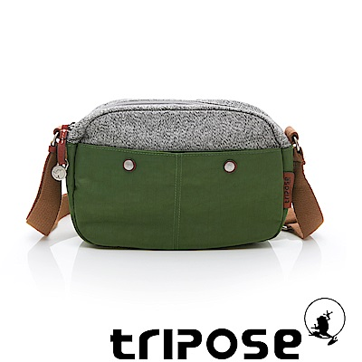tripose 漫遊系列 岩紋x微皺尼龍斜背包 草綠