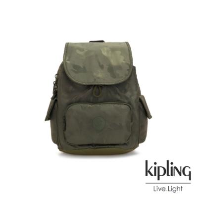 Kipling 迷彩緞灰拉鍊掀蓋後背包-CITY PACK S