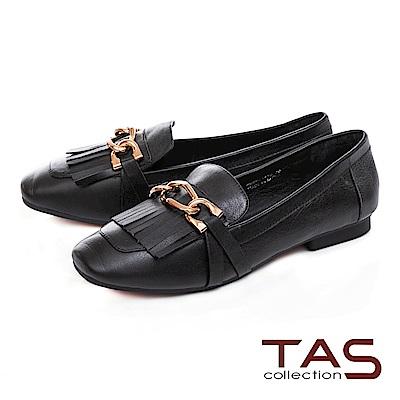 TAS 金屬飾條流蘇素面牛皮樂福鞋-經典黑