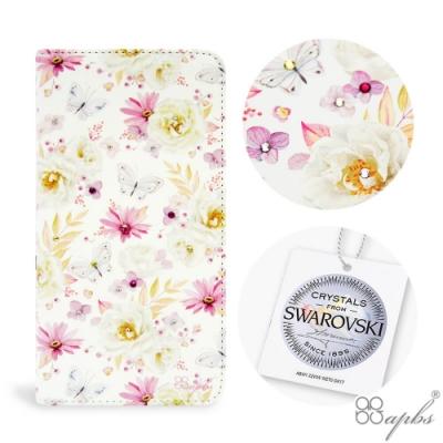 apbs iPhone XS / iPhone X 兩用施華彩鑽磁吸手機殼皮套-小白蝶