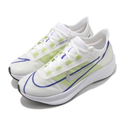Nike 慢跑鞋 Zoom Fly 3 運動 女鞋 氣墊 舒適 避震 路跑 健身 球鞋 白 藍 AT8241104
