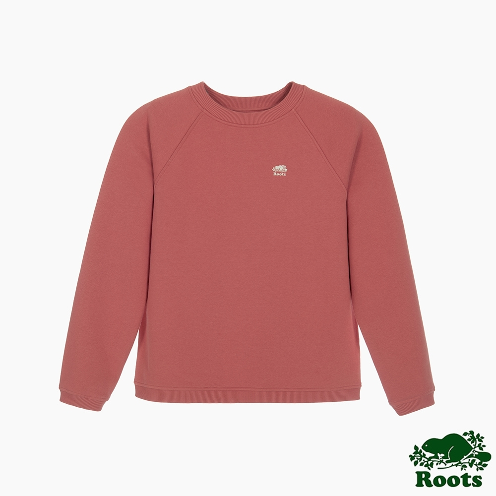 Roots 女裝- 男友版型簡約圓領上衣-乾燥玫瑰色