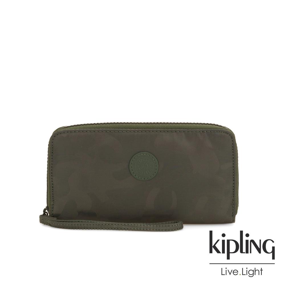 Kipling 迷彩緞灰多層收納拉鍊長夾-IMALI