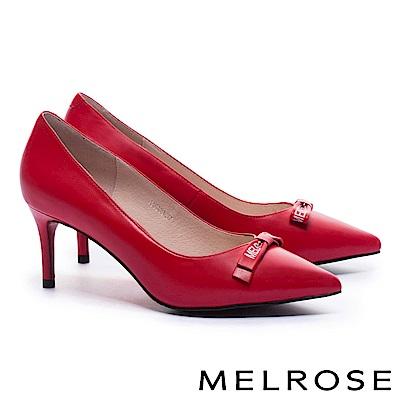 高跟鞋 MELROSE 經典 Logo 蝴蝶結素面牛皮尖頭高跟鞋-紅