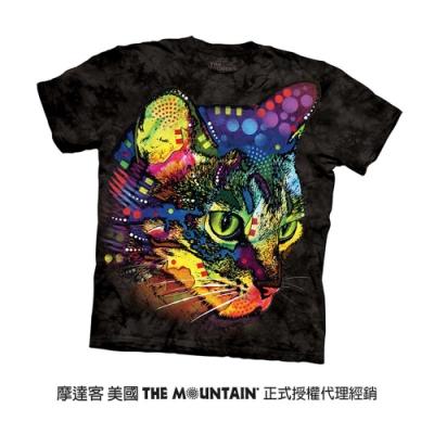 摩達客(預購)美國進口The Mountain 彩繪貓凝視 純棉環保短袖T恤