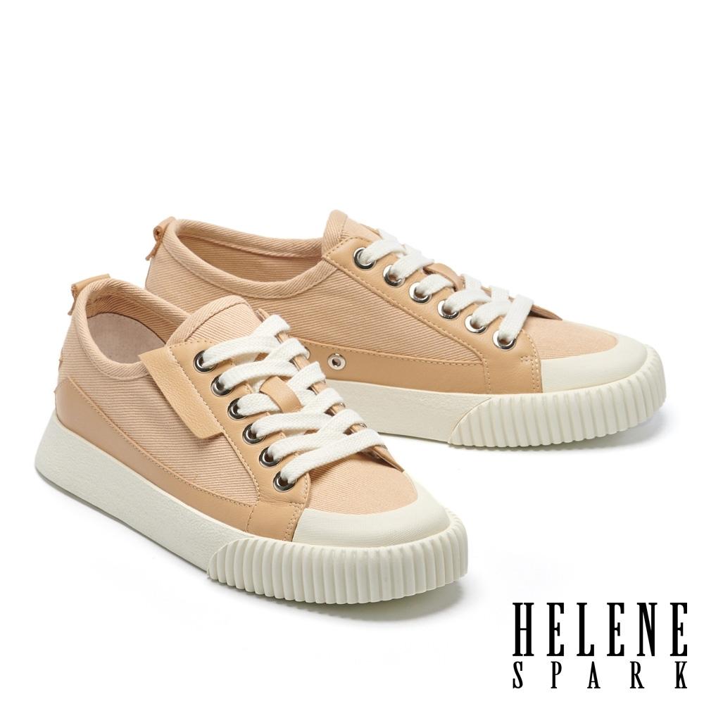 休閒鞋 HELENE SPARK 簡約時尚綁帶帆布厚底休閒鞋-米