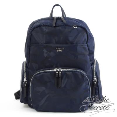 La Poche Secrete後背包 輕盈時尚多口袋雙層後背包-迷彩墨藍