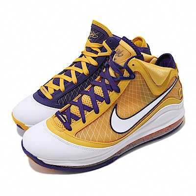 Nike 籃球鞋 LeBron 7代 MEDIA DAY 男鞋 Lakers LBJ 詹姆斯 氣墊 避震 紫 黃 白 CW2300500