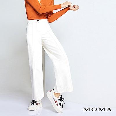 MOMA 棕色壓線牛仔寬褲