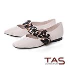 TAS 復古圓點緞布繫帶牛皮平底娃娃鞋-質感白