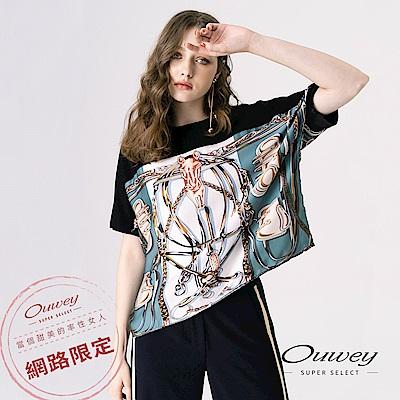OUWEY歐薇 時尚感絲巾配色造型連袖上衣(黑)