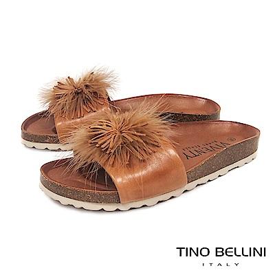 Tino Bellini 西班牙進口全真皮花飾舒足涼拖鞋 _ 棕