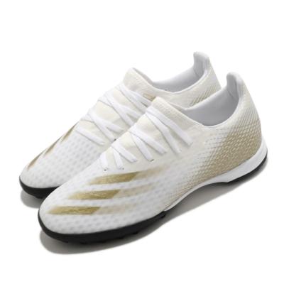 adidas 足球鞋 X Ghosted 3 TF 襪套式 男鞋 愛迪達 人工草皮 碎釘大底 地毯草 白 金 EG8199
