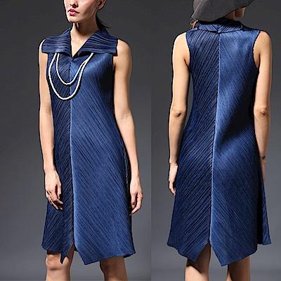 M@F摺衣 素雅清新風壓褶洋裝-藍