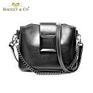 【BAGGLY&CO】希艾爾方格磁扣鍊條手提側背包(黑色)