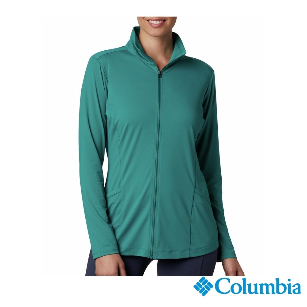 Columbia 哥倫比亞 女款-涼感快排防曬50立領外套-綠色 UAR14150GY
