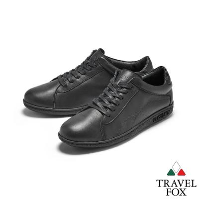 TRAVEL FOX(女)  晨曦的陪伴  柔軟牛皮綁帶低筒運動休閒鞋-活力黑