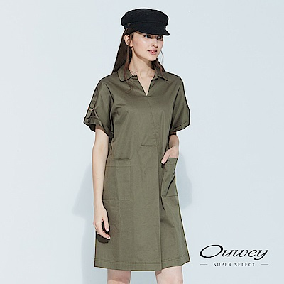 OUWEY歐薇 簡約率性落肩洋裝(可/藍/綠)