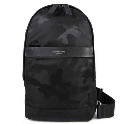 MICHAEL KORS Kent 燙銀Logo迷彩紋單肩胸包/後背包(黑色)