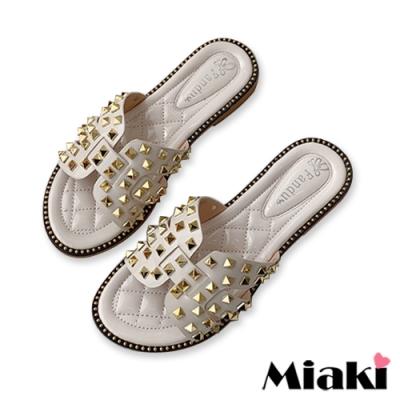 Miaki-拖鞋金屬韓系平底涼拖-白