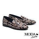 低跟鞋 MODA Luxury 復古時髦金屬條釦全真皮樂福低跟鞋-蛇紋